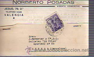 TARJETA COMERCIAL DE NORBERTO POSADAS-DE VALENCIA-AGENTE COMERCIAL (Sellos - España - Tarjetas)