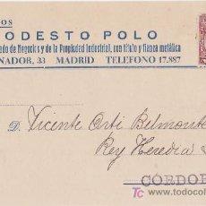 Sellos: TARJETA POSTAL COMERCIAL - MODESTO POLO, AGENTE COLEGIADO DE NEGOCIOS. Lote 15280185