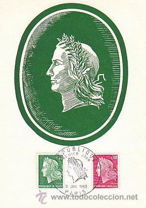 FRANCIA IVERT Nº 1611, MARIANNE DE CHEFFER, MÁXIMA DEL 11-1-1969 (Sellos - Extranjero - Tarjetas Máximas)