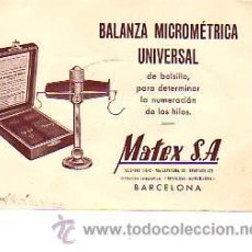 Sellos: TARJETA COMERCIAL DE BALANZA MICROMRTRICA UNIVERSAL- TEXTIL MATEX SA . Lote 13220625