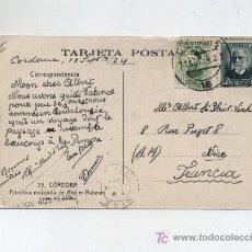 Sellos: TARJETA POSTAL DE CORDOBA A FRANCIA FRANQUEADA CON LOS SELLOS Nº 664 Y 665. Lote 18119616