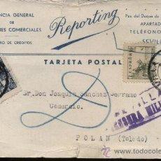 Sellos: TARJETA POSTAL DE INFORMES COMERCIALES DE SEVILLA A POLAN (TOLEDO) FRANQUEADA CON DOS SELLOS. Lote 18119620