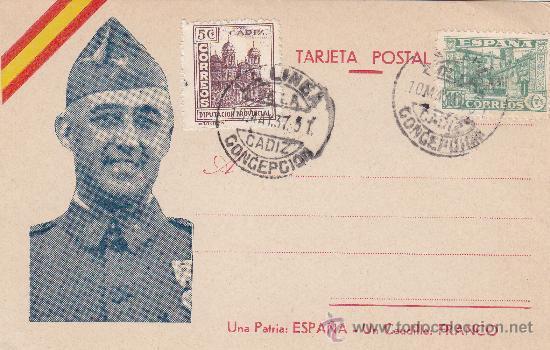 GENERAL FRANCO RARA TARJETA PATRIOTICA CON MATASELLOS 1937 DE LA LINEA DE LA CONCEPCION (CADIZ). MPM (Sellos - España - Tarjetas)