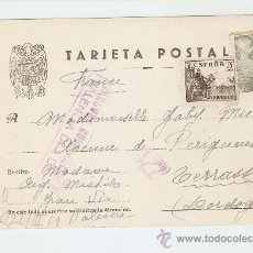 Sellos: TARJETA POSTAL 1943 - VALENCIA - FRANCIA - CENSURA MILITAR. Lote 26944596