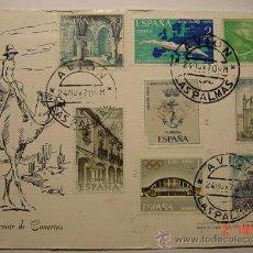 Sellos: 903 TARJETA FILATELICA CANARIAS FECHADOR LAS PALMAS AVION 1970. Lote 14772033