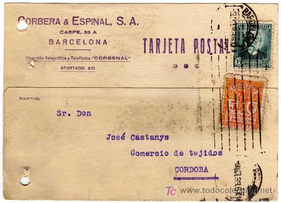 TARJETA POSTAL COMERCIAL - CORBERA & ESPINAL - BARCELONA (Sellos - España - Tarjetas)