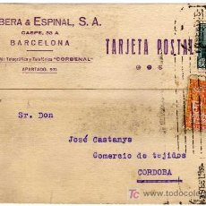 Sellos: TARJETA POSTAL COMERCIAL - CORBERA & ESPINAL - BARCELONA . Lote 25985213