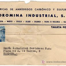 Sellos: TARJETA POSTAL COMERCIAL - COROMINA INDUSTRIAL-BARCELONA-BILBAO-MADRID-MALLORCA-VALENCIA-VALDEPEÑAS. Lote 34587713
