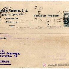 Sellos: TARJETA POSTAL COMERCIAL - ALMACENES CONTRERAS - TEJIDOS Y QUINCALLA - SEVILLA . Lote 25985114