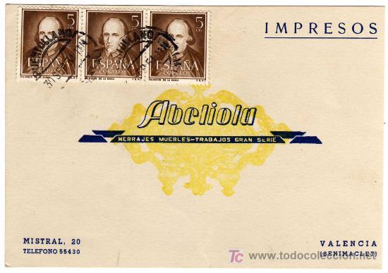 TARJETA POSTAL COMERCIAL - BRONCES ABELIOLA - HERRAJES - MUEBLES - BENIMACLET (VALENCIA) (Sellos - España - Tarjetas)
