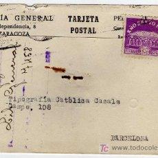 Sellos: TARJETA POSTAL COMERCIAL - LIBRERIA GENERAL - ZARAGOZA . Lote 26008149