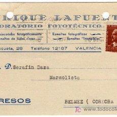 Sellos: TARJETA POSTAL COMERCIAL - ENRIQUE LAFUENTE - LABORATORIO FOTOTECNICO - VALENCIA . Lote 21362623