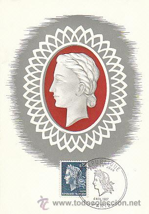FRANCIA IVERT Nº 1535, MARIANNE DE CHEFER, MÁXIMA PRIMER DIA DEL 4-11-1967 (Sellos - Extranjero - Tarjetas Máximas)