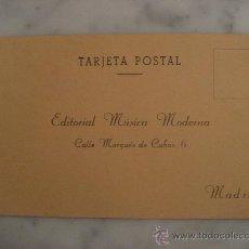 Sellos: TARJETA POSTAL EDITORIAL MUSICA MODERNA,MADRID. Lote 23088577