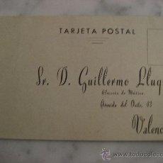 Timbres: TARJETA POSTAL,DIRIGIDA A GUILLERMO LLUQUET,VALENCIA.ALMACEN DE MUSICA.. Lote 23088600
