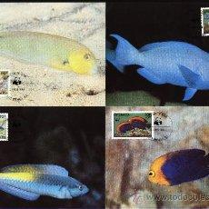 Sellos: SERIE 4 TARJETAS MAXIMA WWF ( ADENA) PECES DE CORAL GRENADA - FAUNA - ANIMAL. Lote 26633371