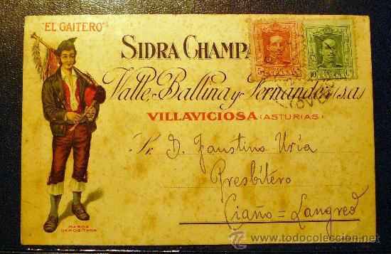 ESPAÑA. CARTA DE PROPAGANDA SIDRA EL GAITERO VILLAVICIOSA ASTURIAS. PRECIOSA (Sellos - Extranjero - Tarjetas)
