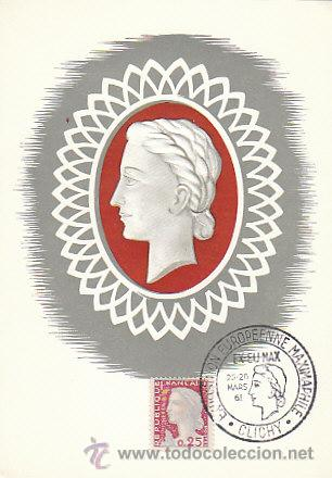 FRANCIA IVERT Nº 1263, MARIANNE DE DECARIS, MÁXIMA DEL 25-3-1961 (Sellos - Extranjero - Tarjetas Máximas)