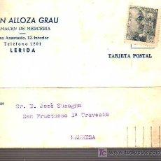 Sellos: TARJETA COMERCIAL DE JUAN ALLOZA GRAU- ALMACEN DE MERCERIA LERIDA-LLEIDA 1957. Lote 17995456