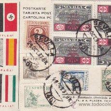 Selos: DOS VIÑETAS INVERTIDAS EN BLOQUE DE CUATRO, TARJETA PATRIOTICA HITLER, FRANCO Y MUSSOLINI RARA. MPM. Lote 23492669