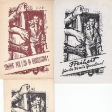 Sellos: JUEGO DE TARJETAS CIRCULADAS EN 1951 SOLICITANDO A LA ONU LA LIBERTAD DE 34 ESPAÑOLES MUY RARAS. MPM. Lote 23539428