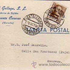Sellos: TARJETA COMERCIAL -TEXTIL GALLEGA S,L. PUENTE CESURES- A CORUÑA 1955. Lote 19446312
