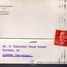 Sellos: TARJETA COMERCIAL -VICENTE VALCARCE S.R.C. A CORUÑA 1969. Lote 19446329