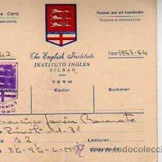 Sellos: TARJETA COMERCIAL -THE INGLISH INSTITUTE BILBAO 1964. Lote 19446437