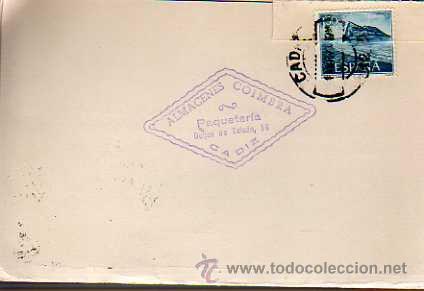 TARJETA COMERCIAL -ALMACENES COIMBRA -PAQUETERIA -CADIZ 1970 (Sellos - España - Tarjetas)