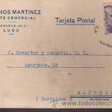 Sellos: TARJETA COMERCIAL -LONGINOS MARTINEZ AGENTE COMERCIAL DE LUGO -1945. Lote 19446907