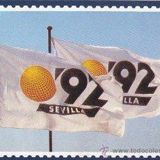 Sellos: BANDERAS EXPO '92: EXPOSICION FILATELICA RUMBO AL 92, SEVILLA 1987. TARJETA POSTAL SERIE A. Lote 20187566