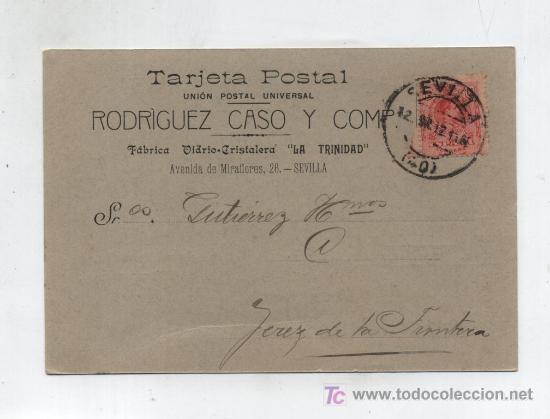 TARJETA POSTAL COMERCIAL.DE SEVILLA A JEREZ DE LA FRONTERA.FRANQUEADA CON EL SELLO 269,MATASE- (Sellos - Extranjero - Tarjetas)