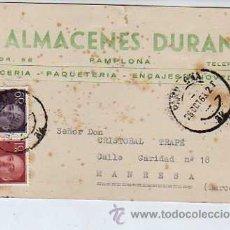Sellos: TARJETA COMERCIAL - ALMACENES DURAN (MERCERÍA, PAQUETERÍA, ENCAJES) DE PAMPLONA. 1963. Lote 20503313