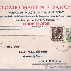Sellos: POSTAL DE JABUGO A ARACENA. FEBRERO DE 1936.. Lote 21286828