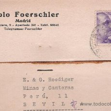 Sellos: TARJETA POSTAL CON MEMBRETE COMERCIAL DE MADRID A SEVILLA. 1941.. Lote 21295901