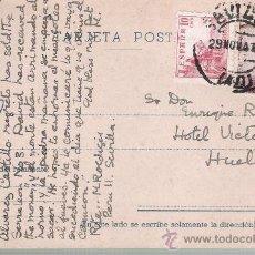 Sellos: TARJETA POSTAL DE SEVILLA A HUELVA. 1947.. Lote 21295974