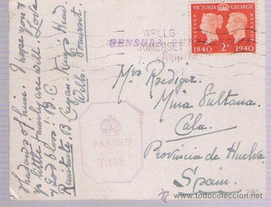 TARJETA DE GRAN BRETAÑA A MINA LA SULTANA (CALA).FRANQUEADA CON SELLO 230 MATASELLADO CON RO- (Sellos - Extranjero - Tarjetas)