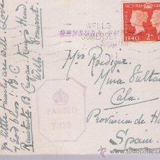 Sellos: TARJETA DE GRAN BRETAÑA A MINA LA SULTANA (CALA).FRANQUEADA CON SELLO 230 MATASELLADO CON RO-. Lote 21352657