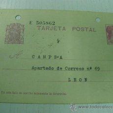 Francobolli: TARJETA ENTERO POSTAL REPUBLICA ESPAÑOLA - CONCESIONARIO DE VILLABLINO A CAMPSA - LEON (24-06-36). Lote 21433121