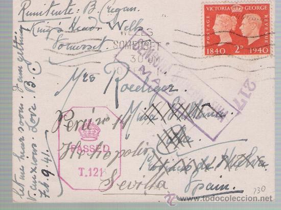 TARJETA DE GRAN BRETAÑA A CALA,REEXPEDIDA A SEVILLA.DE 10 FEB.1941,FRANQUEADA CON SELLO 230 - (Sellos - Extranjero - Tarjetas)