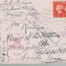 Sellos: TARJETA DE GRAN BRETAÑA A CALA,REEXPEDIDA A SEVILLA.DE 10 FEB.1941,FRANQUEADA CON SELLO 230 -. Lote 22123766