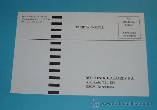 TARJETA POSTAL. RESPUESTA COMERCIAL. MUCHNIK EDITORES, S.A. (Sellos - España - Tarjetas)