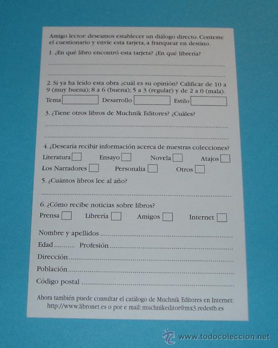 Sellos: TARJETA POSTAL. RESPUESTA COMERCIAL. MUCHNIK EDITORES, S.A. - Foto 2 - 22231525