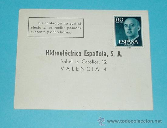 TARJETA POSTAL HIDROELECTRICA ESPAÑOLA. VALENCIA. 1966 (Sellos - España - Tarjetas)