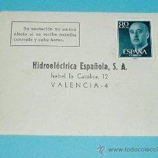 Sellos: TARJETA POSTAL HIDROELECTRICA ESPAÑOLA. VALENCIA. 1966. Lote 22377095