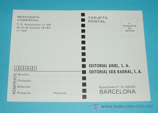 TARJETA POSTAL EDITORIAL ARIEL. EDITORIAL SEIX BARRAL. BARCELONA (Sellos - España - Tarjetas)