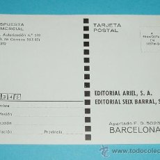 Sellos: TARJETA POSTAL EDITORIAL ARIEL. EDITORIAL SEIX BARRAL. BARCELONA. Lote 22377105