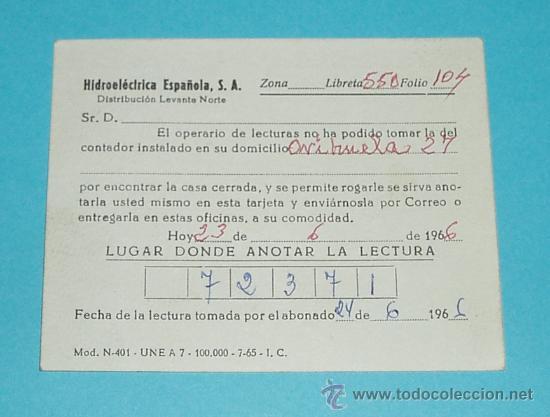 Sellos: TARJETA POSTAL HIDROELECTRICA ESPAÑOLA. VALENCIA. 1966 - Foto 2 - 22377095