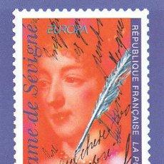 Francia, tarjeta que reproduce sello madame de Sevigne, detras calendario emisones 1º semestre 1996