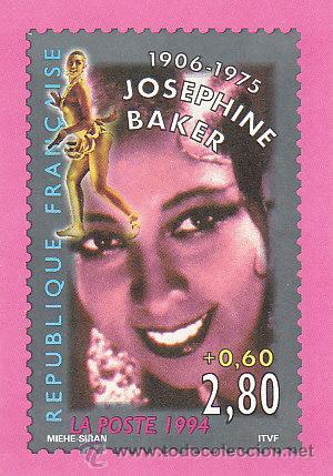 FRANCIA, TARJETA QUE REPRODUCE EL SELLO SOBRE JOSEPHINE BAKER, DETRAS EMISIONES 2º SEMESTRE 1994 (Sellos - Extranjero - Tarjetas)
